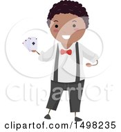 Clipart Of A Boy Performing A Magic Trick With Playing Cards Royalty Free Vector Illustration by BNP Design Studio