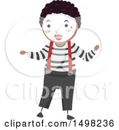 Clipart Of A Boy In A Mime Pose Royalty Free Vector Illustration by BNP Design Studio