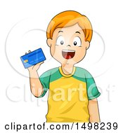 Clipart Of A Boy Holding A Credit Card Royalty Free Vector Illustration