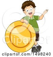 Clipart Of A Boy Presenting And Leaning On A Giant Coin Royalty Free Vector Illustration