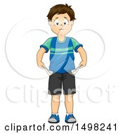 Clipart Of A Boy With Turned Out Empty Pockets Royalty Free Vector Illustration