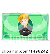 Clipart Of A Business Boy On A Dollar Bill Royalty Free Vector Illustration