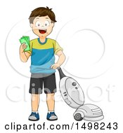 Clipart Of A Boy Vacuuming And Getting Paid Allowance Royalty Free Vector Illustration