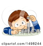 Clipart Of A Boy Counting And Stacking Coins Royalty Free Vector Illustration by BNP Design Studio