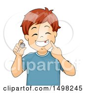 Clipart Of A Boy Pointing To A Missing Tooth And A Coin From The Tooth Fairy Royalty Free Vector Illustration