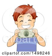 Clipart Of A Boy Grinning And Holding A Dollar Bill Royalty Free Vector Illustration