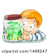 Clipart Of A Boy With A Jar Full Of Coins And Cash Money Royalty Free Vector Illustration