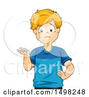 Clipart Of A Boy With Only A Few Coins Royalty Free Vector Illustration