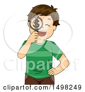 Clipart Of A Boy Holding A Dollar Symbol Magnifying Glass Royalty Free Vector Illustration