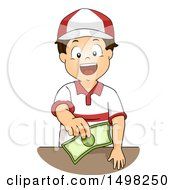 Clipart Of A Worker Boy Holding Out Change Royalty Free Vector Illustration