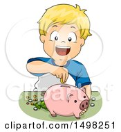 Clipart Of A Boy Inserting Money In His Piggy Bank Royalty Free Vector Illustration