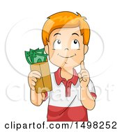 Clipart Of A Boy Holding An Envelope Of Cash Money And Thinking Royalty Free Vector Illustration
