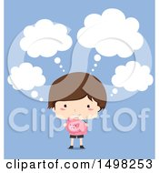Clipart Of A Boy Thinking And Holding A Piggy Bank Over Blue Royalty Free Vector Illustration