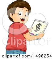 Clipart Of A Boy Holding A Tablet With A Money App On The Screen Royalty Free Vector Illustration
