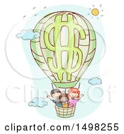 Clipart Of A Dollar Hot Air Balloon With Children Royalty Free Vector Illustration by BNP Design Studio
