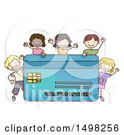 Clipart Of A Sketched Credit Card With Kids Royalty Free Vector Illustration