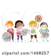 Clipart Of A Group Of Kids Holding Coins Royalty Free Vector Illustration