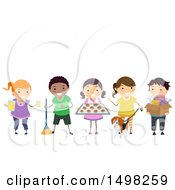 Clipart Of A Group Of Children Entrepeneurs Royalty Free Vector Illustration