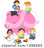 Clipart Of A Giant Piggy Bank With Reading Children Royalty Free Vector Illustration