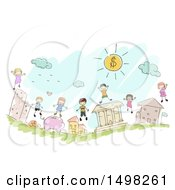 Clipart Of A Sketched Group Of Kids On Financial Icons Royalty Free Vector Illustration