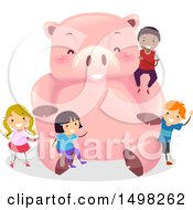 Clipart Of A Giant Piggy Bank And Children Royalty Free Vector Illustration