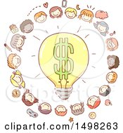 Clipart Of A Sketched Dollar Light Bulb Surrounded By Children And Money Icons Royalty Free Vector Illustration by BNP Design Studio
