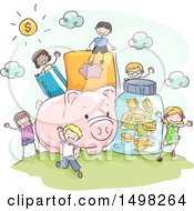 Clipart Of A Sketched Giant Piggy Bank And Money Items With Kids Royalty Free Vector Illustration