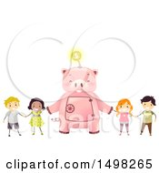 Clipart Of A Giant Piggy Bank Holding Hands With Kids Royalty Free Vector Illustration