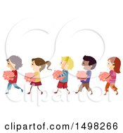 Clipart Of A Line Of Children Carrying Piggy Banks Royalty Free Vector Illustration