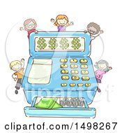 Sketched Cash Register With Money And Kids