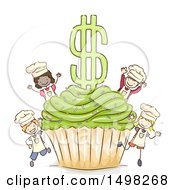Clipart Of A Sketched Giant Cupcake And Dollar Symbol With Chef Kids Royalty Free Vector Illustration