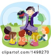 Clipart Of A Boy Performing A Magic Trick For His Friends Royalty Free Vector Illustration