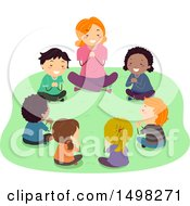 Clipart Of A Teacher And Children Praying Outdoors Royalty Free Vector Illustration