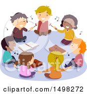 Clipart Of A Group Of Children Sitting On The Floor And Holding Hands While Singing Around Bibles Royalty Free Vector Illustration
