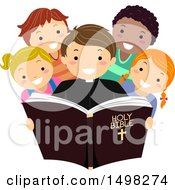 Clipart Of A Priest And Group Of Children Reading The Bible Royalty Free Vector Illustration