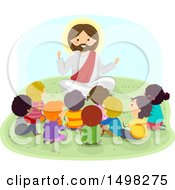 Clipart Of A Group Of Children Sitting Around Jesus Royalty Free Vector Illustration