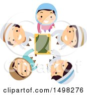 Clipart Of A Circle Of Muslim Children Holding Up The Quran Royalty Free Vector Illustration by BNP Design Studio