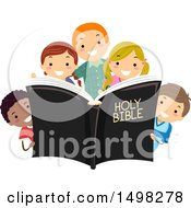 Clipart Of A Group Of Children With A Holy Bible Royalty Free Vector Illustration