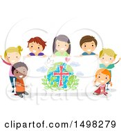 Clipart Of A Group Of Children With A Peace Banner Royalty Free Vector Illustration