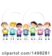 October 12th, 2017: Clipart Of A Group Of Children Spelling Out Welcome Royalty Free Vector Illustration by BNP Design Studio