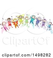 Sketched Group Of Colorful Children On A Rainbow