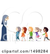 Happy Nun With A Line Of Children