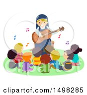 Clipart Of A Happy Nun Playing A Guitar For A Group Of Children Royalty Free Vector Illustration by BNP Design Studio