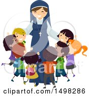 Happy Nun Hugging A Group Of Children