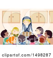 Clipart Of A Happy Nun Serving Bread To A Group Of Children Royalty Free Vector Illustration by BNP Design Studio