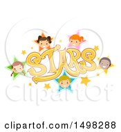 Clipart Of A Stars Text Design With Child Faces Royalty Free Vector Illustration