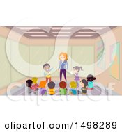 Clipart Of A Teacher And Students In An Acting Class Royalty Free Vector Illustration