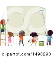 Clipart Of A Group Of Children Posting A Sign Royalty Free Vector Illustration