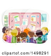 Clipart Of A Crowd Of Children Looking At A Bulletin Board For Clubs Royalty Free Vector Illustration by BNP Design Studio
