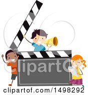 Clipart Of A Group Of Children In A Drama Club Around A Clapper Board Royalty Free Vector Illustration